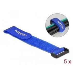 Delock Kabelový úvazek na suchý zip, se smyčkou, D 190 x Š 25 mm, modrý, 5 ks