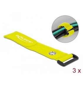 Delock Kabelový úvazek na suchý zip se smyčkou a upínacím očkem, D 280 x Š 38 mm, žlutá, 3 ks