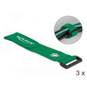 Delock Kabelový úvazek na suchý zip se smyčkou a upínacím očkem, D 280 x Š 38 mm, zelený, 3 ks
