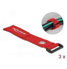 Delock Kabelový úvazek na suchý zip se smyčkou a upínacím očkem, D 280 x Š 38 mm, červená, 3 ks