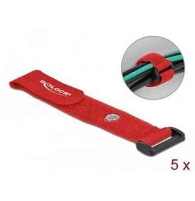 Delock Kabelový úvazek na suchý zip se smyčkou a upínacím očkem, D 190 x Š 25 mm, červená, 5 ks