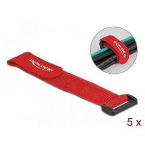 Delock Kabelový úvazek na suchý zip, se smyčkou, D 190 x Š 25 mm, červená, 5 ks