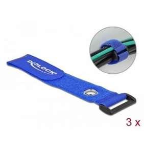 Delock Kabelový úvazek na suchý zip se smyčkou a upínacím očkem, D 280 x Š 38 mm, modrý, 3 ks