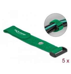Delock Kabelový úvazek na suchý zip se smyčkou a upínacím očkem, D 190 x Š 25 mm, zelený, 5 ks