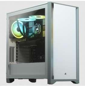 CORSAIR case 4000D, Mid-Tower, ATX Case, průhledná bočnice, bez zdroje, bílá