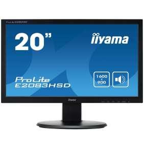 """20"""" LCD iiyama ProLite E2083HSD-B1 - 5ms, 250cd/m2,1000:1 (12M:1 ACR), VGA, DVI, repro, černý"""