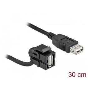 Delock Keystone modul USB 2.0 A samice 110°   USB 2.0 A samice s kabelem černá