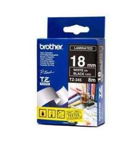 BROTHER TZE345 - kazeta TZ šířky 18mm, laminovaná TZE-345, černá/bílé písmo