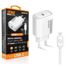 Aligator POWER DELIVERY 20W, USB-C, bílá, USB-C kabel pro iPhone/iPad