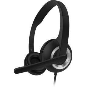 CONNECT IT HOME & OFFICE náhlavní sluchátka s mikrofonem, sigle Jack + adapter 2x Jack,ČERNÁ
