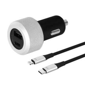 Just Mobile Highway Turbo Deluxe Car Charger + USB-C to lightning cable - Black