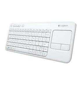 Logitech K400 Plus bezdrôtová dotyková klávesnica biela US verzia