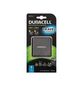Duracell 3A Type-C & 2.4A USB Travel charger, Black