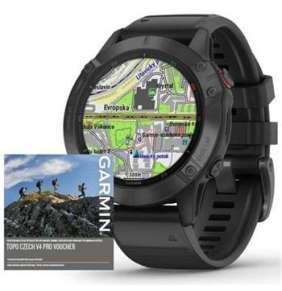 Garmin GPS sportovní hodinky fenix6 PRO Glass, Black/Black Band (MAP/Music)