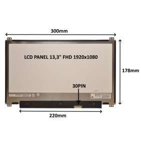 """LCD PANEL 13,3"""" FHD 1920x1080 30PIN MATNÝ / ÚCHYTY NAHOŘE A DOLE"""