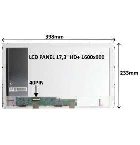"""LCD PANEL 17,3"""" HD+ 1600x900 40PIN LESKLÝ / ŠROUBOVÁNÍ Z BOKŮ"""