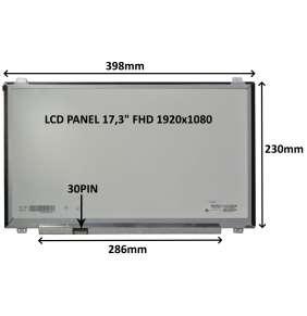 """LCD PANEL 17,3"""" FHD 1920x1080 30PIN MATNÝ IPS / ÚCHYTY NAHOŘE A DOLE"""
