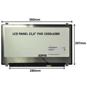 """LCD PANEL 15,6"""" FHD 1920x1080 30PIN MATNÝ / ÚCHYTY NAHOŘE A DOLE"""