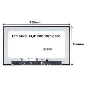 """LCD PANEL 14,0"""" FHD 1920x1080 30PIN MATNÝ IPS / BEZ ÚCHYTŮ"""