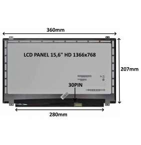 "LCD PANEL 15,6"" HD 1366x768 30PIN LESKLÝ / ÚCHYTY NAHOŘE A DOLE"
