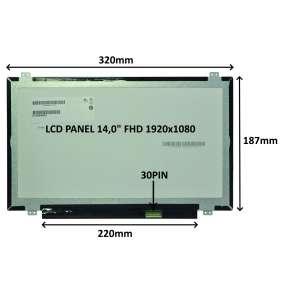 """LCD PANEL 14,0"""" FHD 1920x1080 30PIN MATNÝ IPS / ÚCHYTY NAHOŘE A DOLE"""