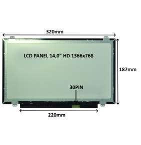 """LCD PANEL 14,0"""" HD 1366x768 30PIN MATNÝ / ÚCHYTY NAHOŘE A DOLE"""