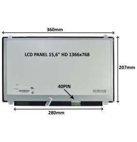 """LCD PANEL 15,6"""" HD 1366x768 40PIN MATNÝ / ÚCHYTY NAHOŘE A DOLE"""