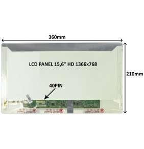 """LCD PANEL 15,6"""" HD 1366x768 40PIN LESKLÝ / ŠROUBOVÁNÍ Z BOKŮ"""