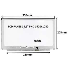"""LCD PANEL 15,6"""" FHD 1920x1080 30PIN MATNÝ IPS / BEZ ÚCHYTŮ"""