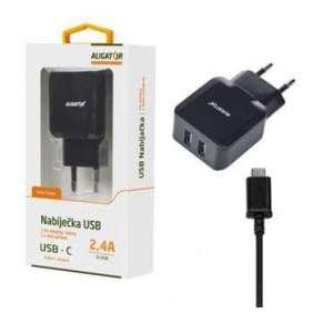 Aligator Nabíječka ALIGATOR USB-C s 2xUSB výstupem 2,4A, Turbo charge, černá