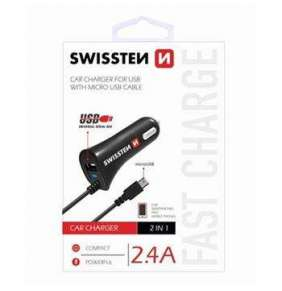 SWISSTEN CAR CHARGER MICRO USB AND USB 2,4A POWER