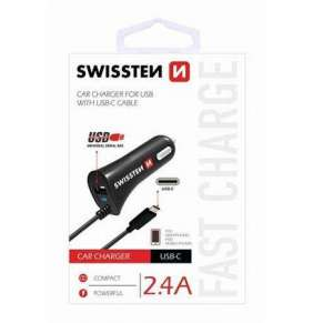 SWISSTEN CAR CHARGER USB-C AND USB 2,4A POWER