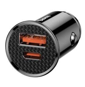 Baseus CCALL-YS01 Circular Nabíječka do Auta USB+USB-C 30W Black