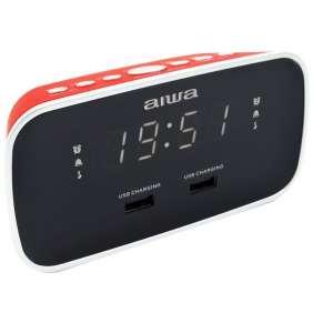 AIWA CRU-19RD/ Radiobudík/ FM/ 2x přední USB/ Černo-červený