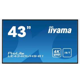 "43"" iiyama LE4340UHS-B1 - AMVA3,4K UHD,8.5ms,350cd/m2, 5000:1,16:9,VGA,HDMI,DVI,USB,RS232,RJ45,repro"