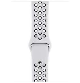 Apple Watch 44mm Pure Platinum/Black Nike Sport Band - S/M & M/L