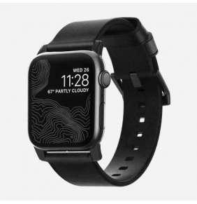 Nomad kožený náramok pre Apple Watch 42/44 mm - Modern Black/Black Hardware