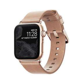 Nomad kožený remienok pre Apple Watch 38/40 mm - Modern Natural/Gold Hardware