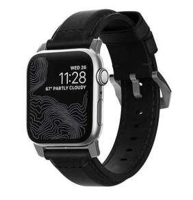 Nomad kožený náramok pre Apple Watch 42/44 mm - Traditional Black/Silver Hardware