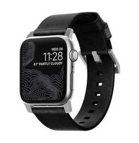 Nomad kožený remienok pre Apple Watch 42/44 mm - Modern Black/Silver Hardware