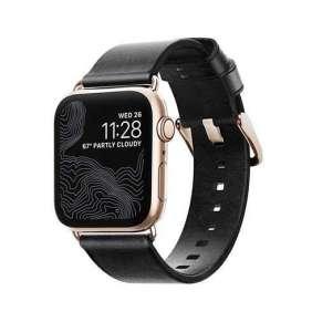 Nomad kožený náramok pre Apple Watch 38/40 mm - Modern Black/Gold Hardware