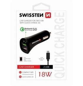 SWISSTEN CL ADAPTÉR QUICK CHARGE 3.0 A USB 2,4A 18W POWER + KABEL MICRO USB