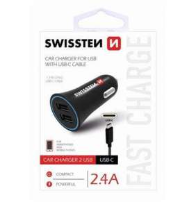 SWISSTEN CAR CHARGER 2,4A POWER WITH 2x USB + CABLE USB-C