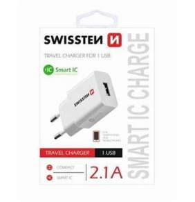 SWISSTEN TRAVEL CHARGER SMART IC WITH 1x USB 2,1A POWER WHITE