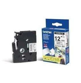 Brother - TZe-FX231,  bílá / černá, 12 mm,  s flexibilní páskou
