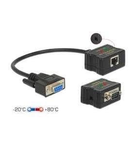 Delock Extender RS-232 DB9 samice RJ45 samice na RS-232 DB9 samec RJ45 samec ESD ochrana 1200 m dosah, rozšířený rozsah