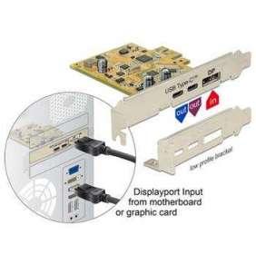 Delock PCI Express Karta   1 x externí USB Type-C™ 3.1 samice + 1 x externí USB Type-C™ 3.1 (DP Alt Mód) samice