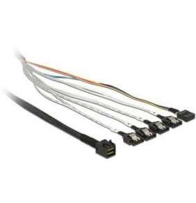 Delock kabel mini SAS HD SFF-8643   4 x SATA 7 pin + Sideband 0.5 m kovová spona