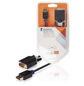 König KNC37200E20 - Kabel DisplayPort DisplayPort zástrčka - DVI-D 24+1p zástrčka 2.00 m Antracit