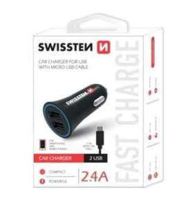 SWISSTEN CAR CHARGER 2,4A POWER WITH 2x USB + CABLE MICRO USB